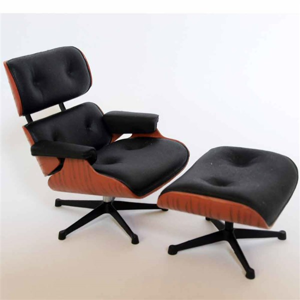 Long Chair Ottoman negra