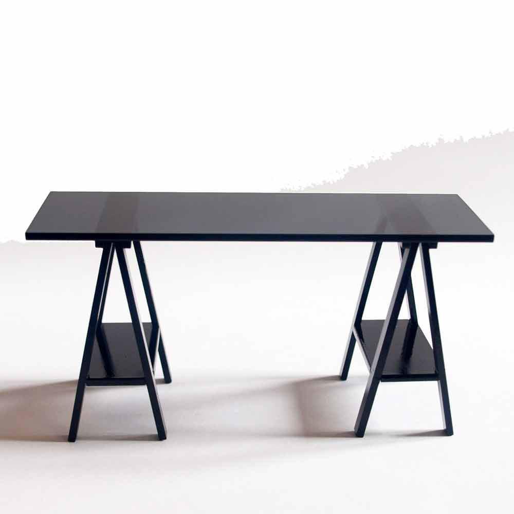 Mesa caballete negra - Mesa con caballetes ...