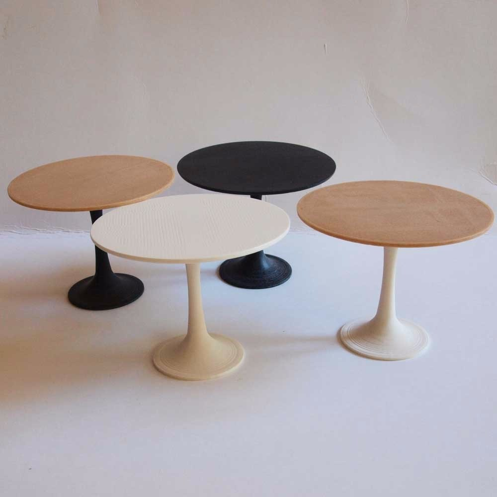 Compra miniaturas modernas mesa xcurve para casas de mu ecas - Mesa blanca y madera ...